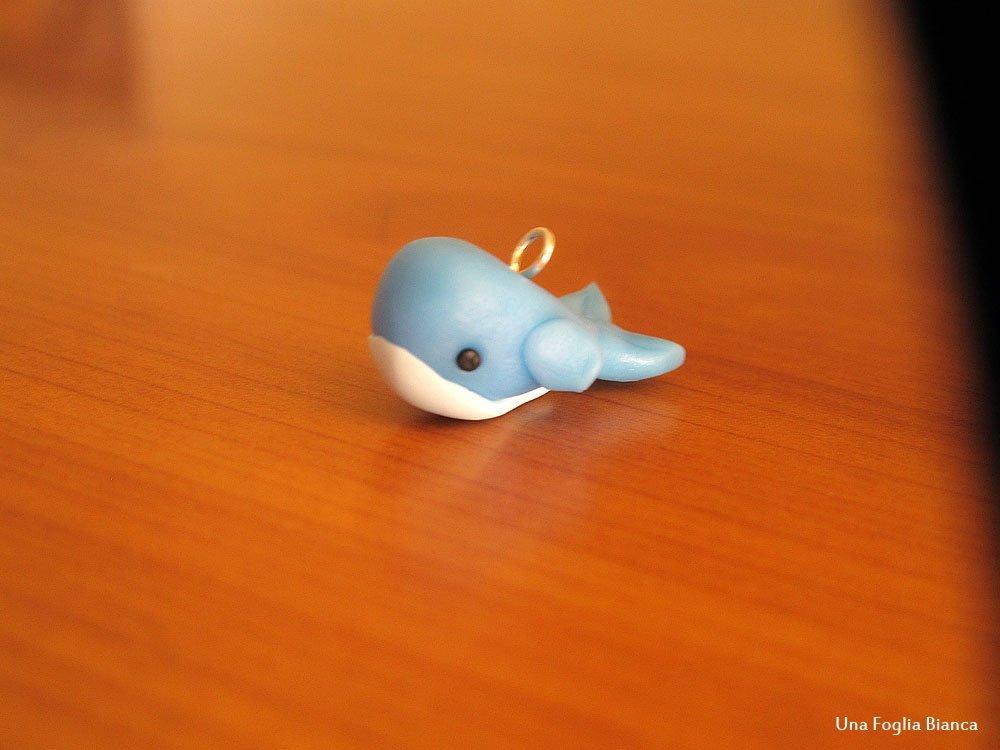 Balena Balenottera Whale Kawaii Cute Cernit Fimo Handmade Polymer