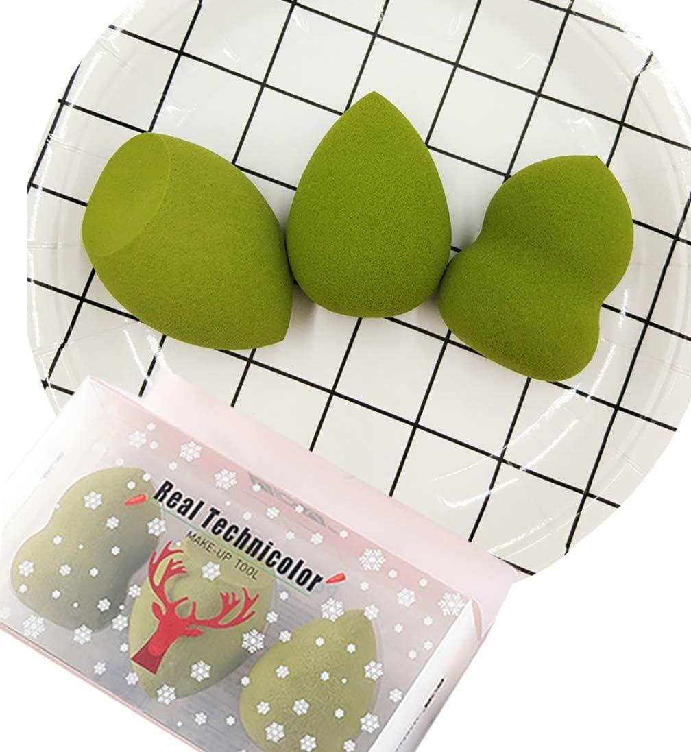 Esponja Maquillaje, Set de 3 esponjas para aplicar maquillaje,corrector, polvo, crema y colorete, sin latex (Verde matcha)