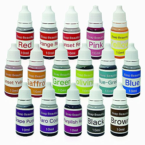 16 Colors Liquid Soap Dye Kit Food Grade Skin Safe, Vegan, Gluten-Free - Liquid Bath Bombs Colorant Set with bonus Best Soap Making Supplies