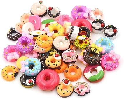 10Pcs DIY Phone Case Decor Crafts Miniature Resin Doughnut Dollhouse Food/_S*