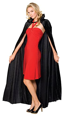 Rubie's Official Adult's Halloween Long Crushed Velvet Cape Costume - Black, One Size