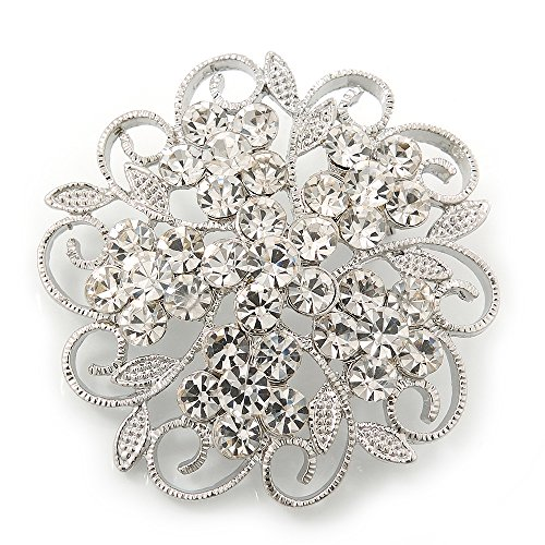 Clear Crystal Filigree Floral Brooch In Rhodium Plating - 43mm Diameter (Filigree Floral Brooch)