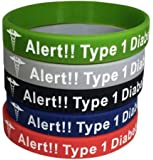 Type 1 Diabetes Bracelets Insulin Dependent Medical Alert(Pack of 5) Green, Grey, Blue, Red, Black
