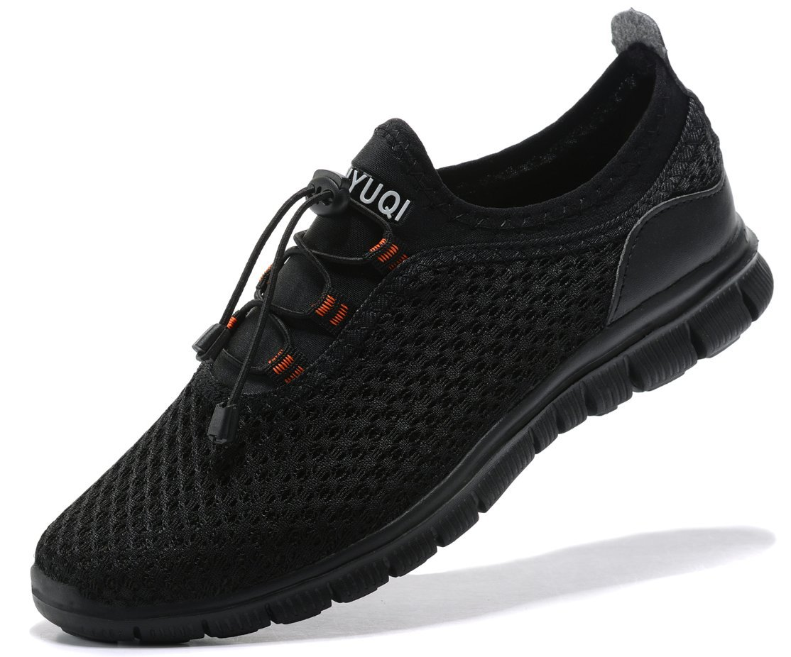 SIBARU Women's Mesh Lightweight Athletic Running Shoes Comfortable Casual Sneakers ¡ B0755L3KHQ WOMEN,42EU/10US|Whole Black