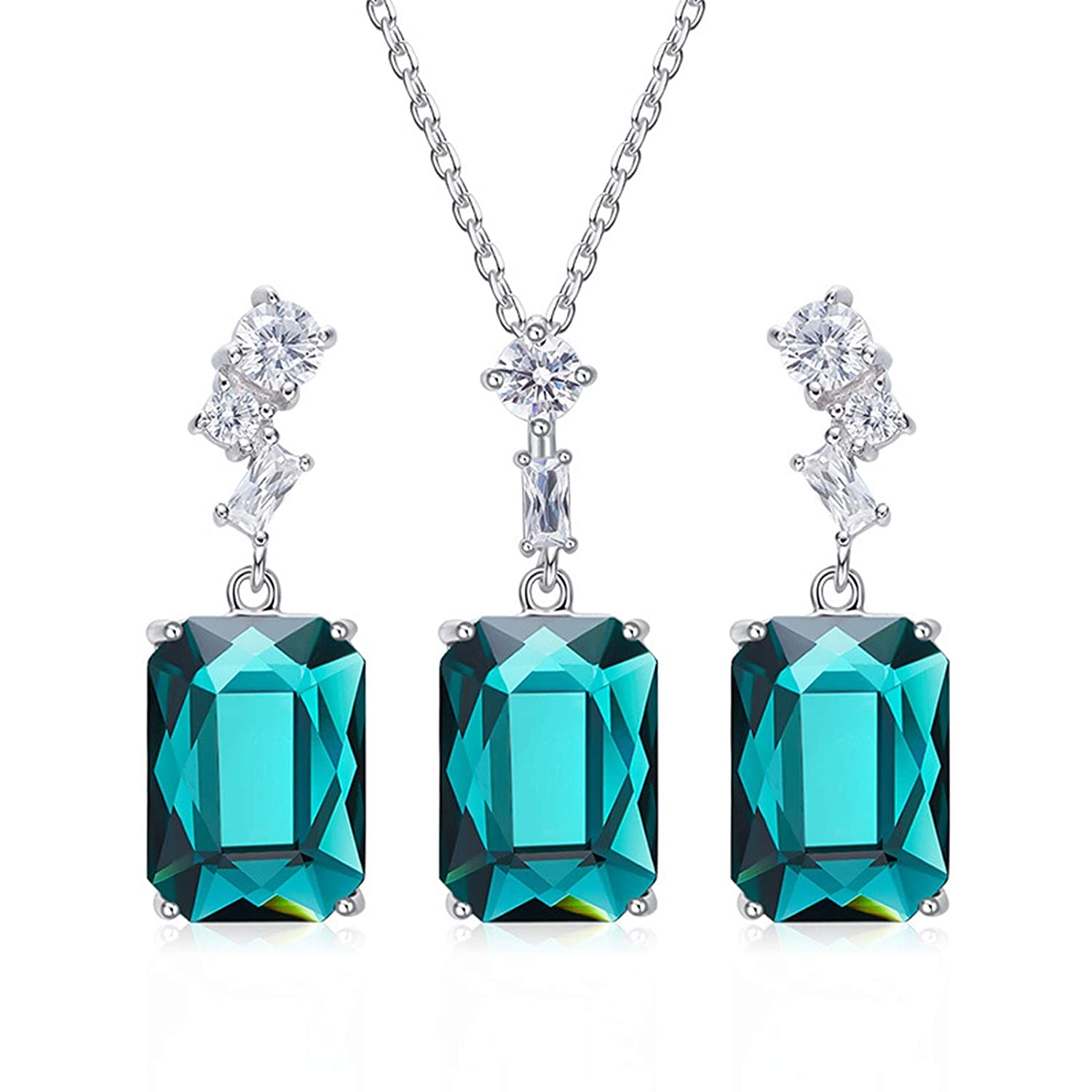 EoCot Silver Plated CZ Pendant Necklace Earrings Set with Australian Crystals Jewelry for Women