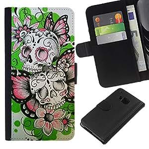 iBinBang / Flip Funda de Cuero Case Cover - Las flores de mariposa de primavera cráneo del motorista - HTC One M7