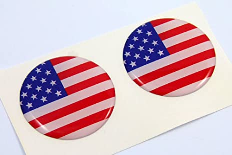 Usa american flag round domed decal 2 emblem car bike stickers 1 45