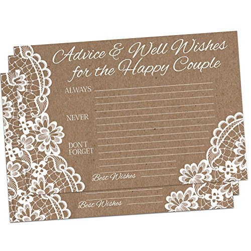 50 Kraft Brown Rustic Wedding Advice Cards for Advice & Well Wishes for the Happy Couple - Bridal Shower Wedding Shower Games Note Card Marriage Best Words of Wisdom by Brag Fresh