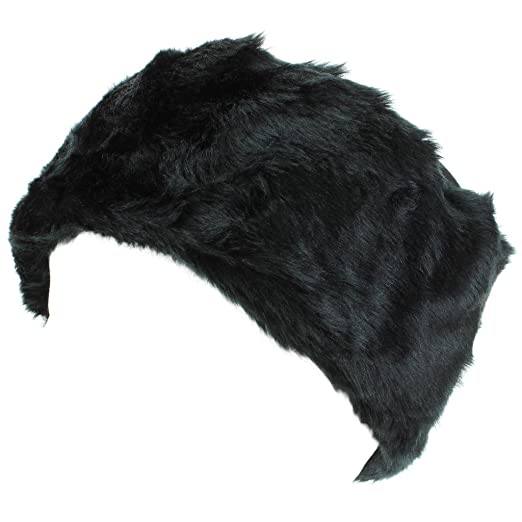 de1446a72383c Hawkins Ladies Faux Fur Hat with Jersey Crown - Black  Amazon.co.uk   Clothing