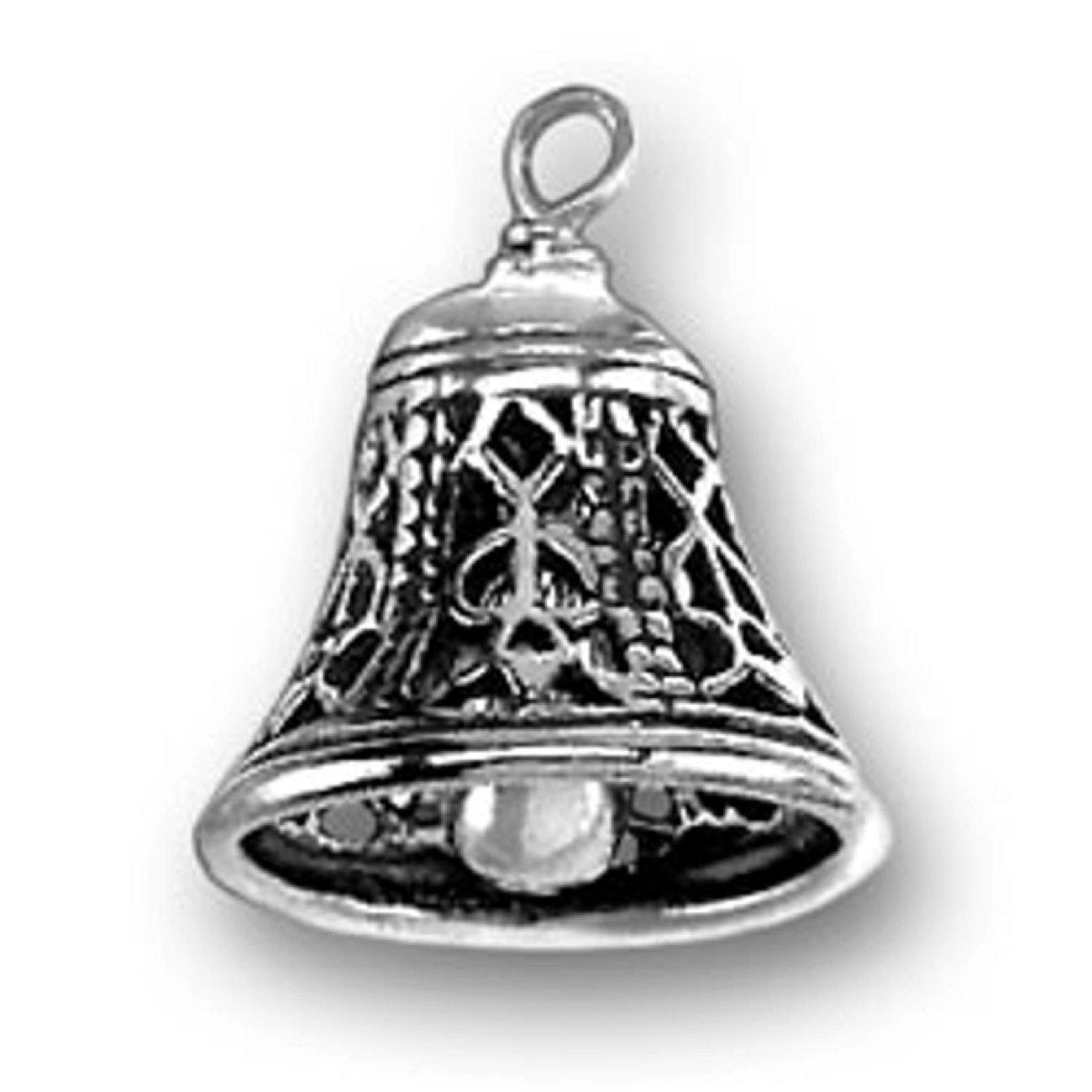 Sterling Silver Charm Bracelet With Attached 3D Sounding Moveable Clapper Filigree Bell Instrument Charm
