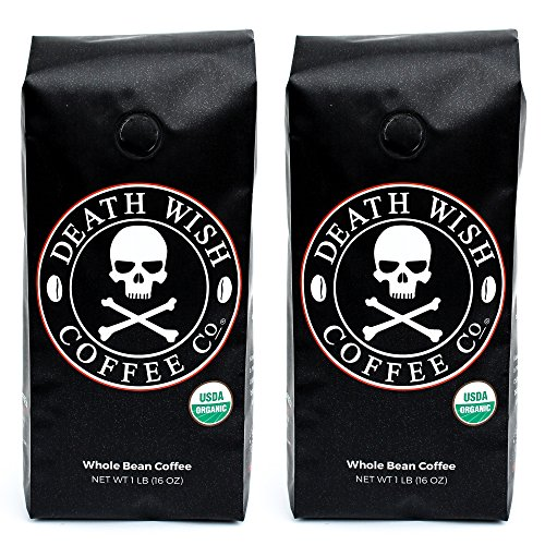 Death Wish Whole Bean Coffee Bundle Deal, The World's Strongest Coffee, Fair Trade and USDA Certified Organic - 1 LB(16 oz) -...