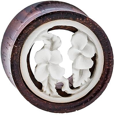 Chic-Net Madera Plug flores túnel de madera de tamarindo hueso ...