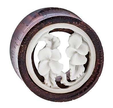 Chic-Net Madera Plug flores túnel de madera de tamarindo hueso embutido blanco Expander tribal Dilataciones 12 mm: Amazon.es: Joyería