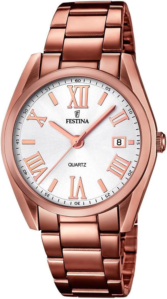 Festina F16791/1 - Reloj de Pulsera Mujer, Acero Inoxidable, Color marrón
