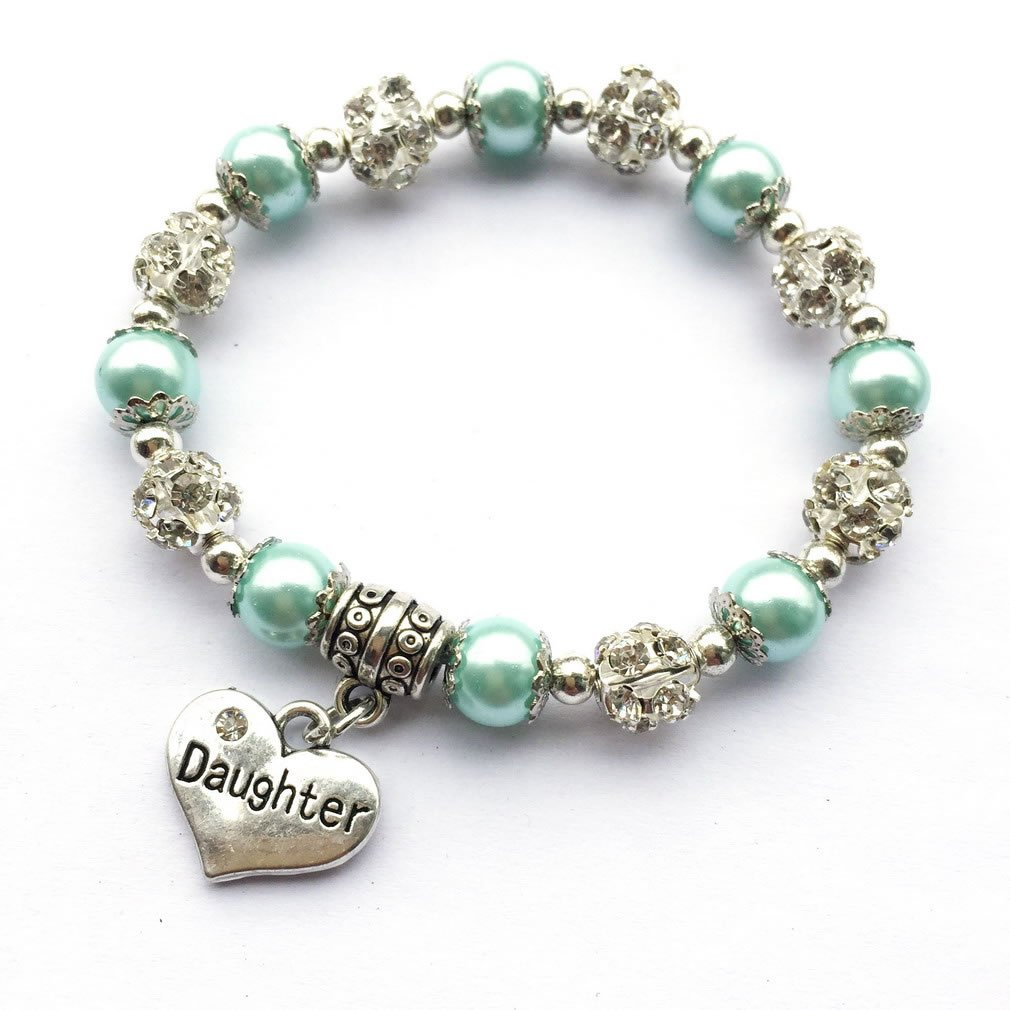 DOLON Daughter Bracelet Heart Charm Crystal Ball With 8mm Faux Pearl Beaded Streth-5 Color