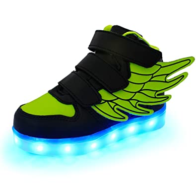 SAGUARO Little Boy Girl LED Light Up Glow Shoes USB Charging Flashing Running Sneakers with Wings