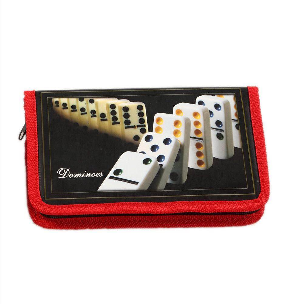 Longfeng ZOOCEN Ivory Color Double 6 Domino Tiles in Red Oxford Cloth Bag with Zipper Pack of 28 Tiles