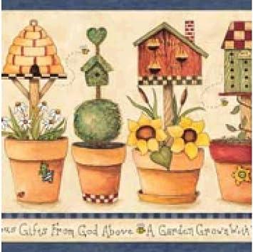 Blue Mountain Alb83762 Gardening Wallpaper Border Blue Amazon Com
