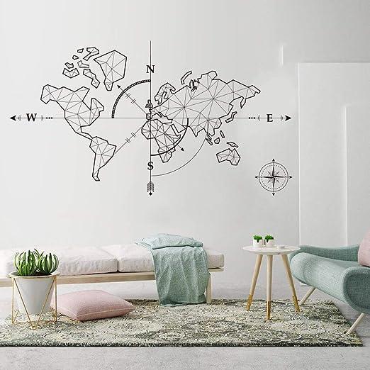 HNXDP Gran mapa del mundo Brújula Tierra Etiqueta de la pared ...