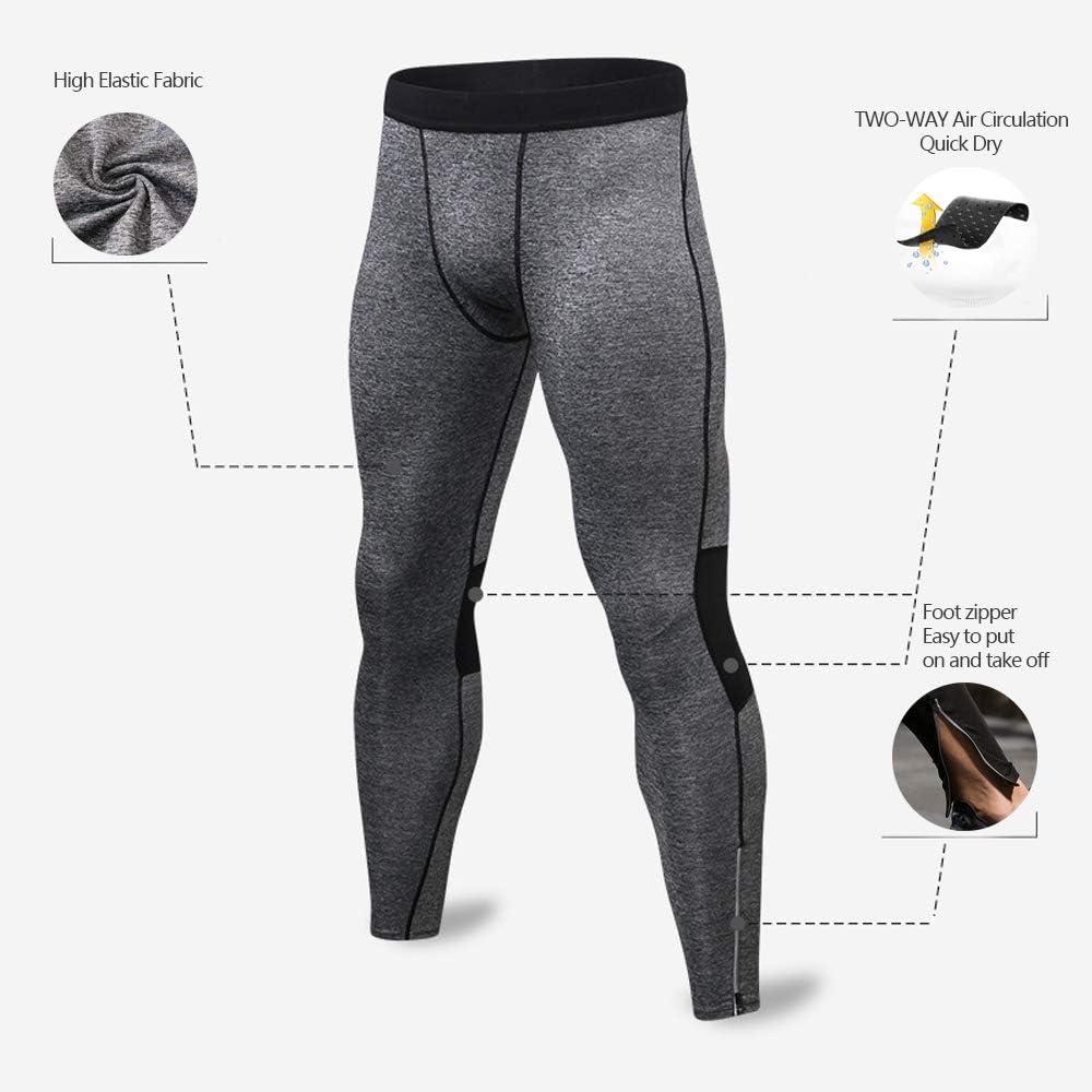 Bmeigo 2 Pack Herren Kompressionshose Sport Leggings Elastizit/ät Tights Schnelltrocknend Hose