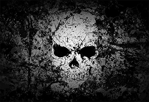 LFEEY 10x8ft Grunge Scary Skull Photography Backdrop Abstract Vintage Gothic Style Skeleton Head Horror Background Movie Poster Wallpaper Evil Halloween Backdrops for Parties Photo -