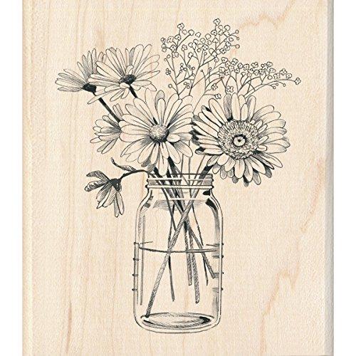 (Inkadinkado Floral Mason Jar Mounted Rubber Stamp for Card Making and Scrapbooking, 3.5'' x 4'')