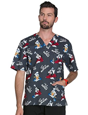 c8906bdbdb3 Image Unavailable. Image not available for. Color: Cherokee Tooniforms by Unisex  V-Neck Donald Duck Print Scrub Top ...