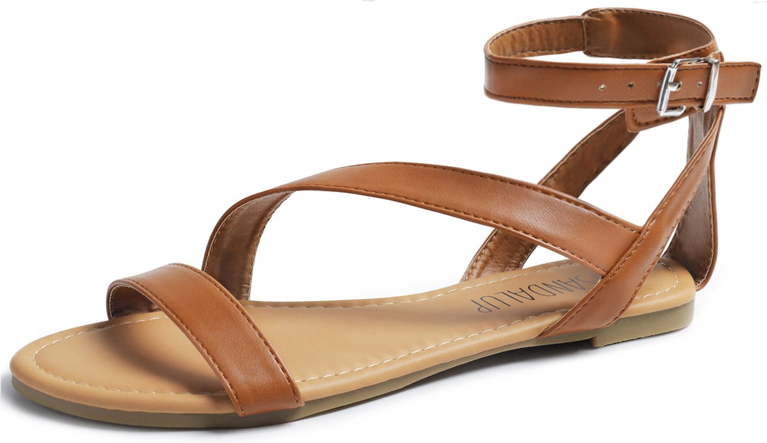 SANDALUP Women's Open Toe Oblique Band Ankle Strap with Fashion Buckle Flat Sandals Brown 08