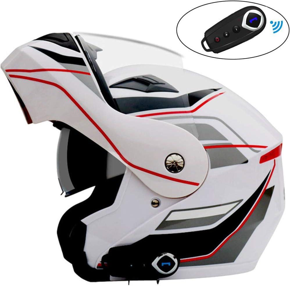 Casco Moto Hombre Casco Modular Flip Up Racing con Auriculares Bluetooth, Visera Solar De Doble Lente Cascos De Motocross Aprobado Dot Casco Protector para ATV/MX/DH/MTB/UTV