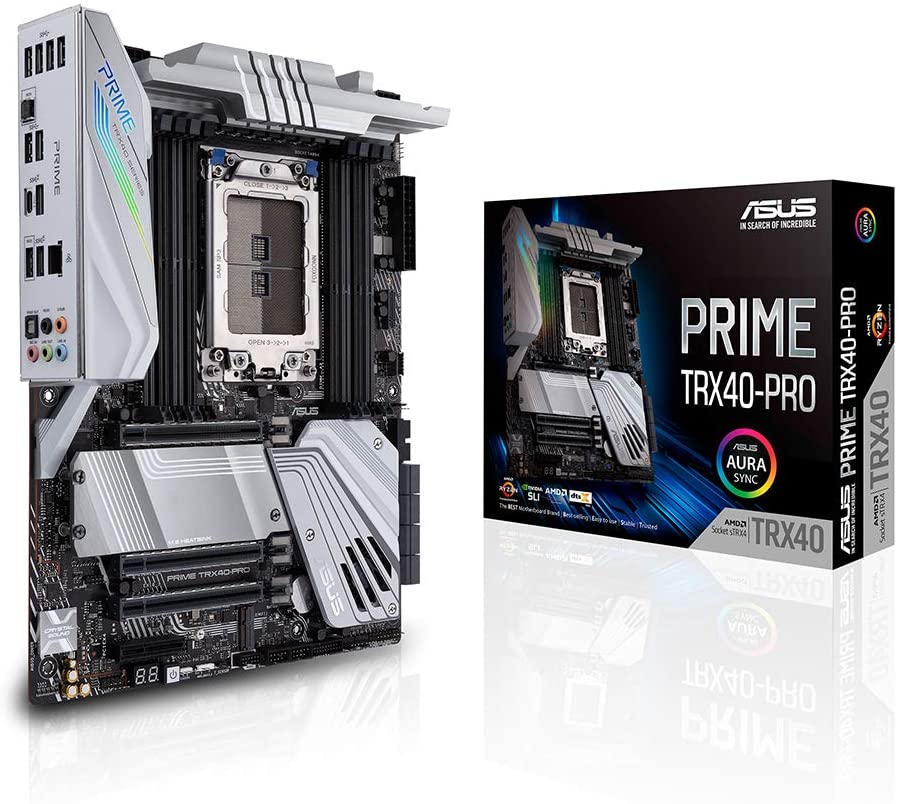 Asus Prime TRX40-PRO AMD 3rd Gen Ryzen Threadripper Strx4 ATX Motherboard with DDR4, M.2, USB 3.2 Gen2, Type-C Front Panel Connector and Aura Sync RGB Lighting
