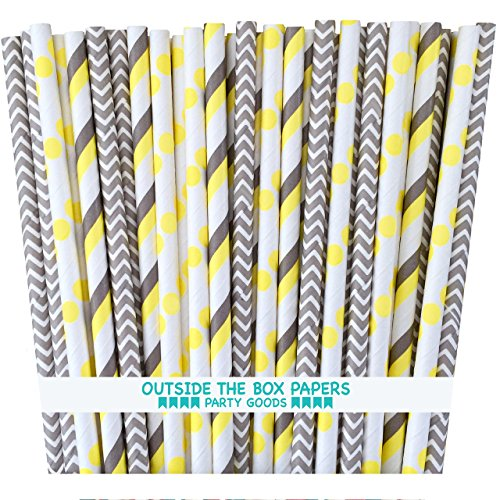 Outside the Box Papers Gray and Yellow Stripe