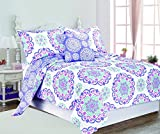 4 Piece Girls Medallion Quilt Full Queen Set, Cute All Over Flowers Mandala Motif Bedding, Multi Floral Heart Swirl Pattern, Bohemian Boho Chic Flower Themed, White Teal Blue Lavender Plum Violet Pink