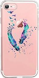 Girlscases® | iPhone 8/7 Hülle | Im Federn-Vögel Motiv Muster | in blau | Fashion Case transparente Schutzhülle aus Silikon