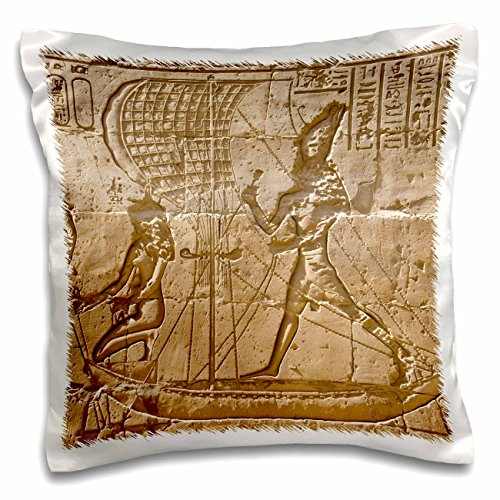 Danita Delimont - Ancient Architecture - Egypt, Edfu, Outer wall relief, sacred funerary barque-AF14 DBR0170 - Dave Bartruff - 16x16 inch Pillow Case ()