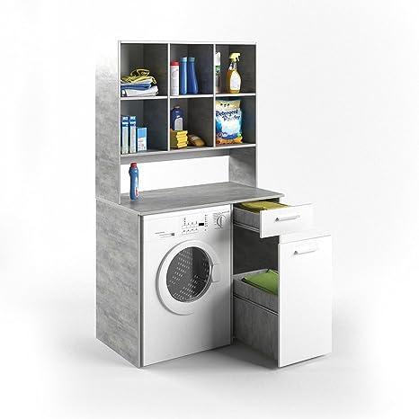VICCO Waschmaschinenschrank Kombination Beton 185 x 103 x 60 cm - Badregal  Hochschrank Waschmaschine Bad Schrank Badezimmerschrank (Beton)