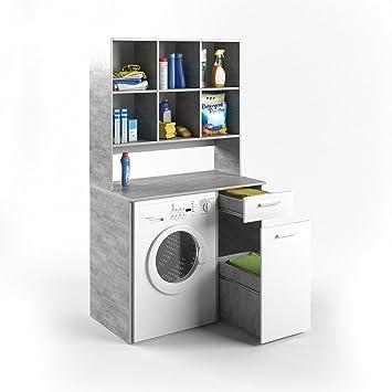 VICCO Waschmaschinenschrank Kombination Beton 185 X 103 X 60 Cm   Badregal  Hochschrank Waschmaschine Bad Schrank