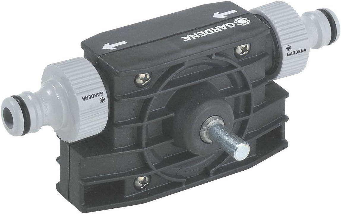 Gardena 1490-20 1490-20-Mini-bomba Adaptable a cualquier taladradora. Caudal 2400 l/h. Presión bar elevación : 30 m. Altura máx. de aspiración : 3 m, 1 W, Negro, Gris