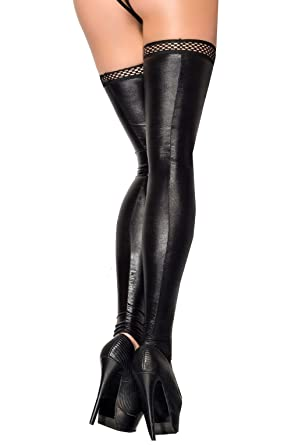 575d48efb74 Sexy Black Wet Look Faux Leather FOOTLESS Stockings Hold Ups Erotic Hosiery  Rubber Top 8 10 12 14 16 18 20  Amazon.co.uk  Clothing