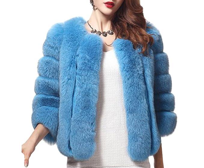 Di Giacca Maniche S Cappotto Donna Faux Lunghe Pelliccia Gladiolus Blau Cappotti Parka Outwear Corto zwEq6InOW