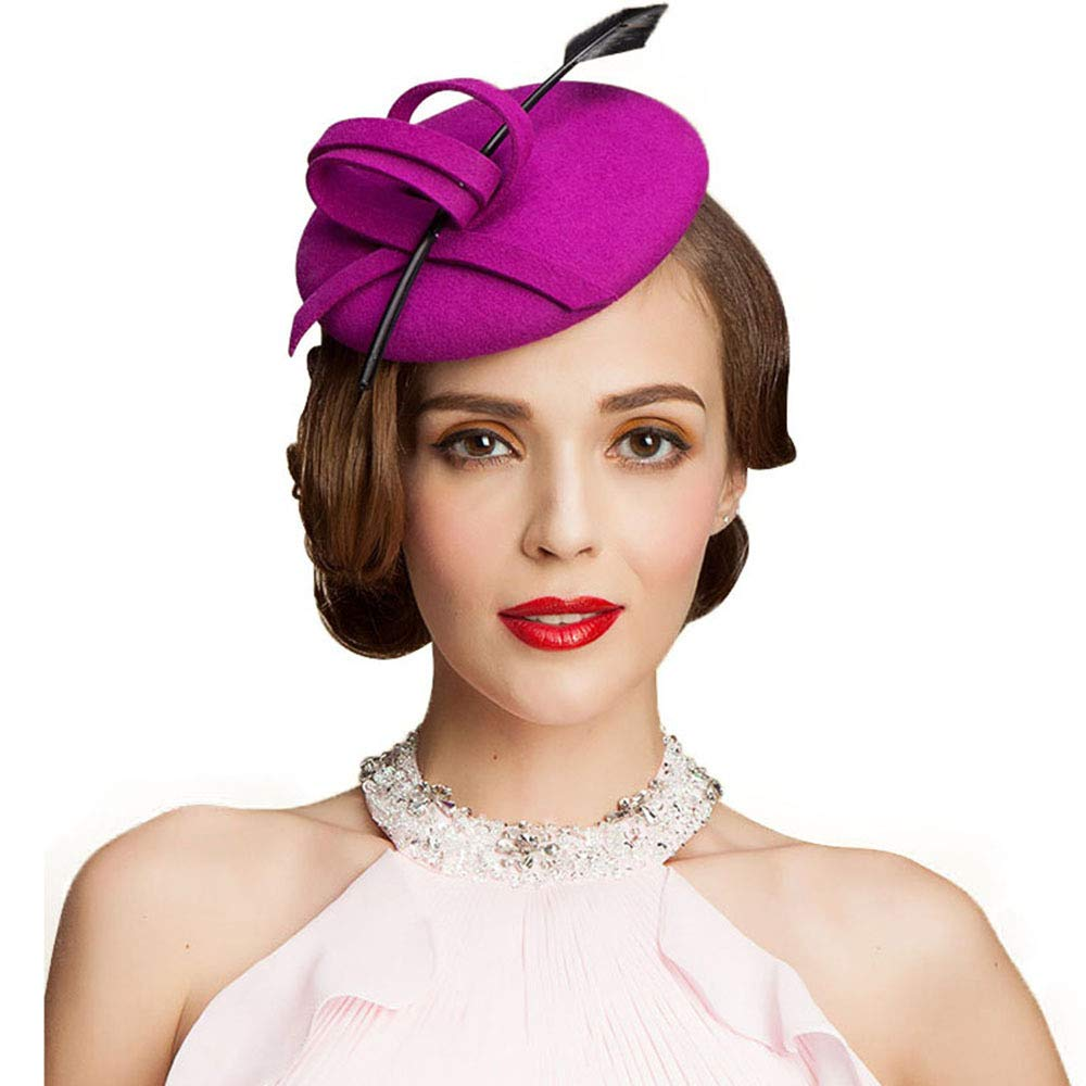 British Style Elegant Wool Pillbox Wedding Hat Angel Feather Cocktail Formal Hat