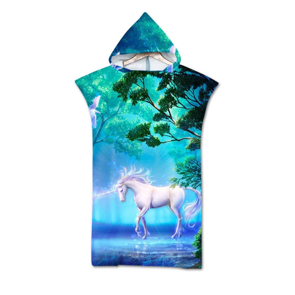 Odot Poncho con Cappuccio Asciugamano per Cambiarsi Microfibra Assorbente Spiaggia Nuoto Surf Donne /& Uomini 3D Copricostume Accappatoio Indossare