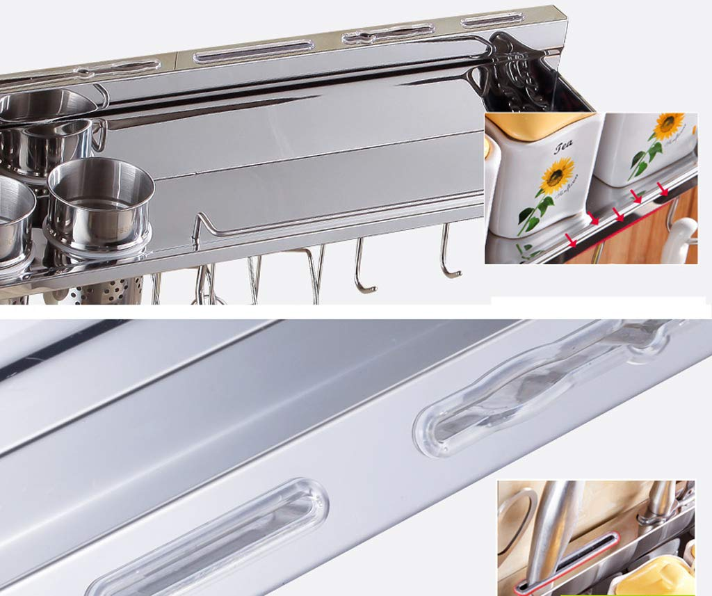 Kitchen Shelf, Multi-Function Stainless Steel Hardware Wall Hanging Kitchen Hook (40-80CM) (Color : No Hanging Basket, Size : 70CM) by CFXZM (Image #1)