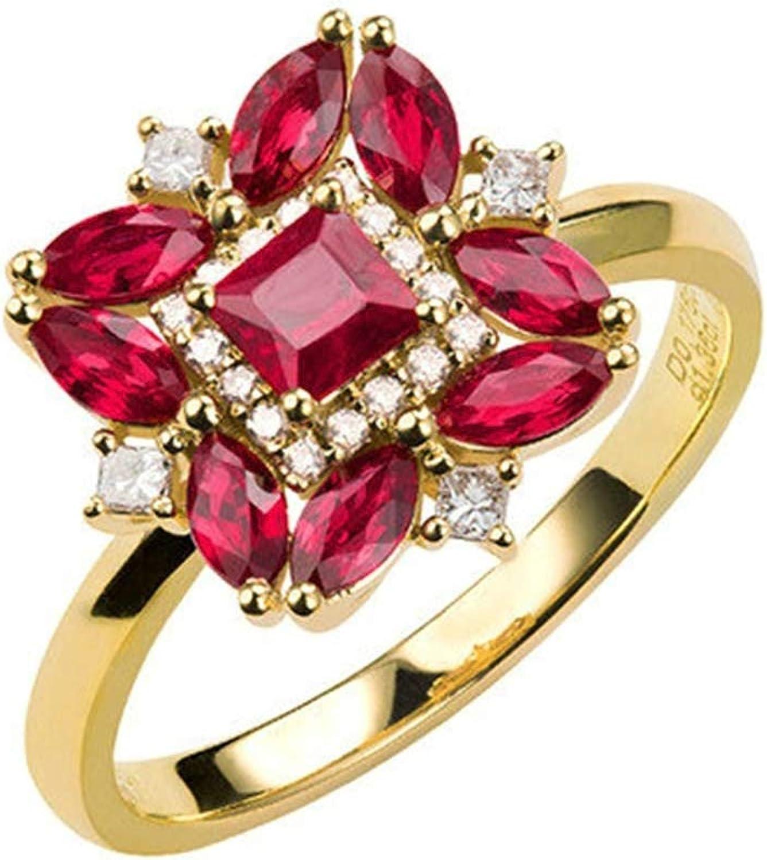 Daesar Anillo de Mujer Oro Rojo Anillos de Compromiso Oro Amarillo 18K Cuadrado con Oval Rubí Rojo Blanco 1.36ct Diamante Blanco 0.176ct
