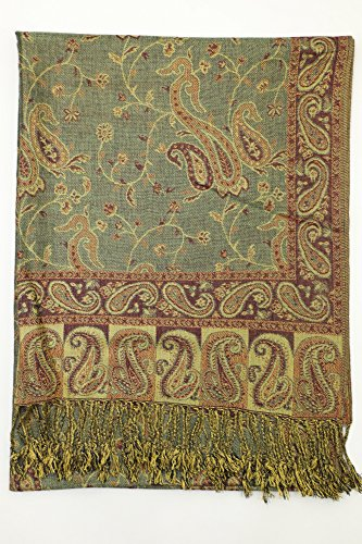 Achillea Soft Silky Reversible Paisley Pashmina Shawl Wrap Scarf w/Fringes 80'' x 28'' (Sage Green) by Achillea (Image #4)