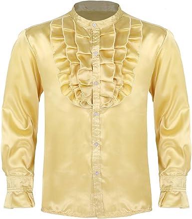YiZYiF Camisa de Vestir Hombres Camisa de Baile con Volantes Salsa Jazz Camisas Vintage de Satén Manga Larga Traje Hippie Disfraz Bailarín Adulto: Amazon.es: Ropa y accesorios