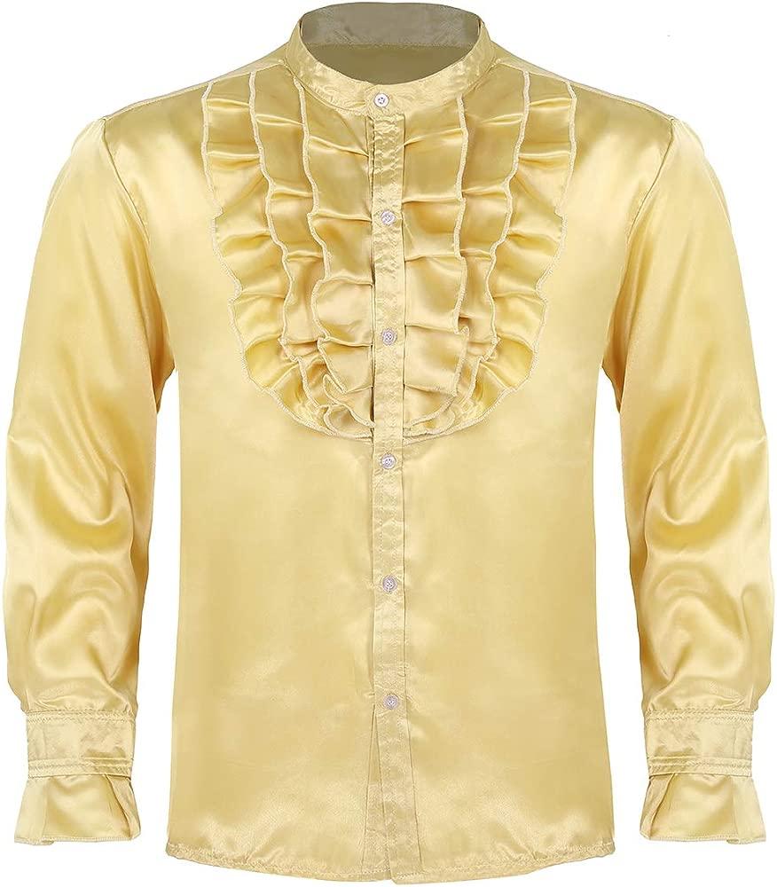 iixpin Camisa de Satén Hombre Blusa con Volantes Traje de ...