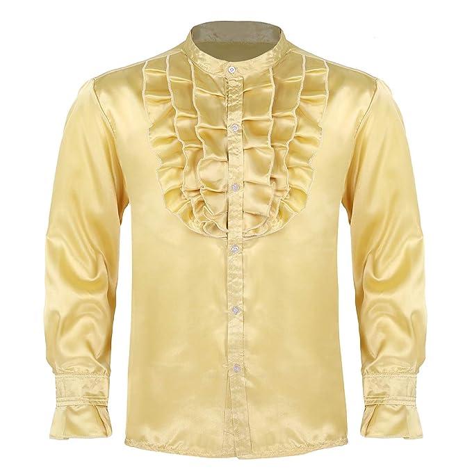 IEFIEL Camisa Gótica Vintage para Hombre Camisa Jabot ...