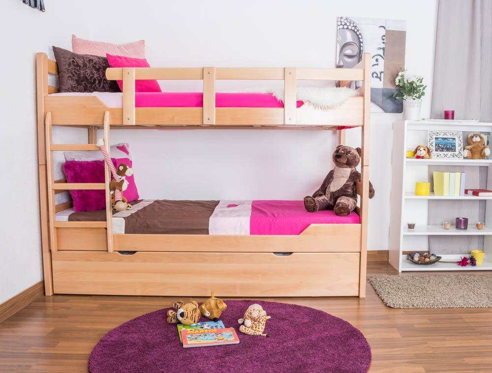 Stockbett mit Bettkasten Easy Sleep K12/h inkl. Liegeplatz und 2 Abdeckblenden, Kopf- und Fußteil gerade, Buche Vollholz massiv Natur - Maße: 90 x 200 cm, teilbar