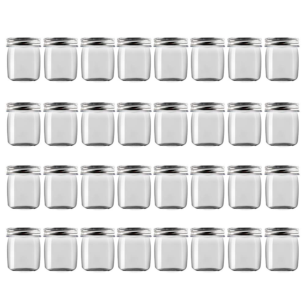 Novelinks 8 Ounce Clear Plastic Jars Containers With Screw On Lids - Refillable Round Empty Plastic Slime Storage Containers for Kitchen & Household Storage - BPA Free (32 Pack)