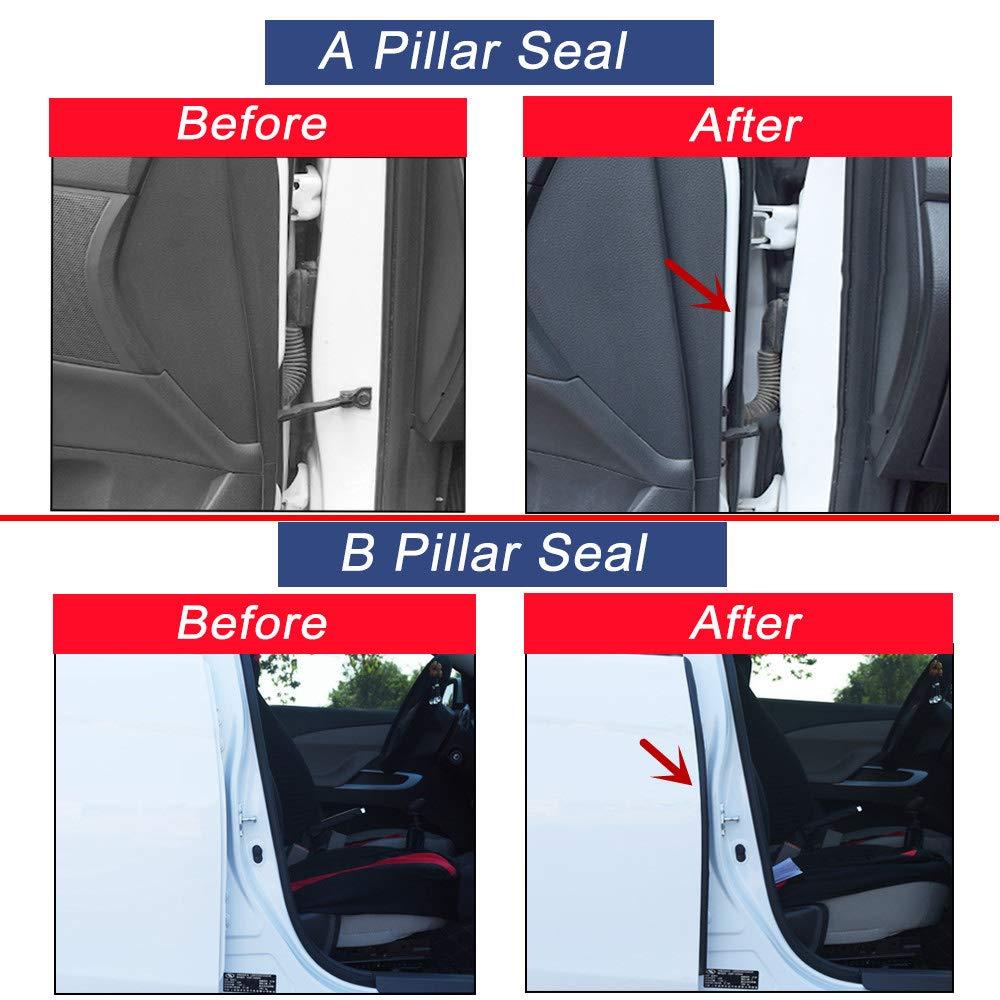 Topus Tesla Model 3 Door Seal Kit Noise Reduction Seal Door Seal Kit Soundproof Rubber Weather Draft Seal Strip Tesla Model 3 Accessories